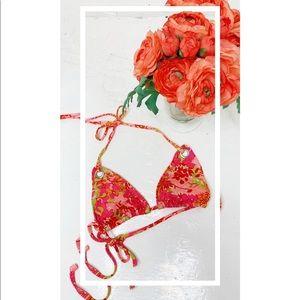 Vintage Pink Floral Bikini Top